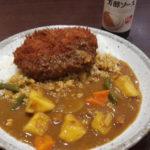 Foto einer Portion Gemüse-Curry mit frittierter Frikadelle als Topping.