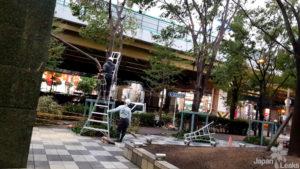 Aufräumarbeiten nach einem Taifun in Osaka.