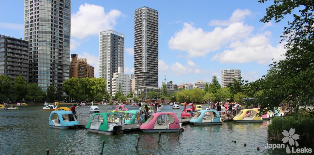 Bild des Sees mit Tretbooten in Ueno Park.