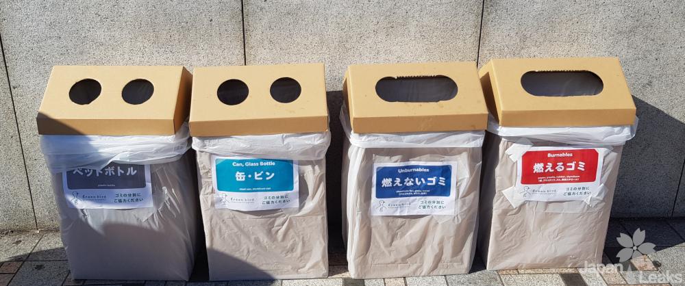 Pappmülleimer mit Angaben zur Mülltrennung.