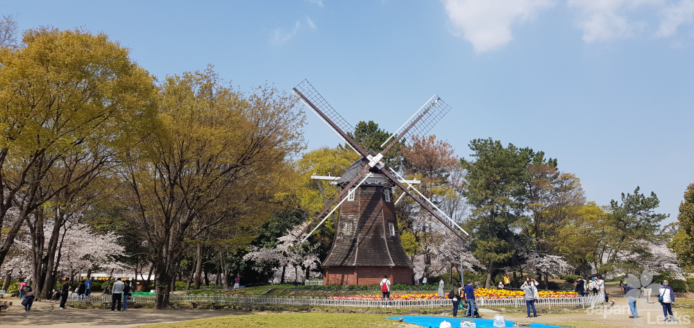Foto der Windmühle im Burgpark Nagoyas.
