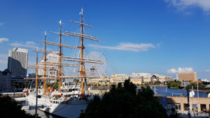 Foto des Hafenbereichs in Yokohama