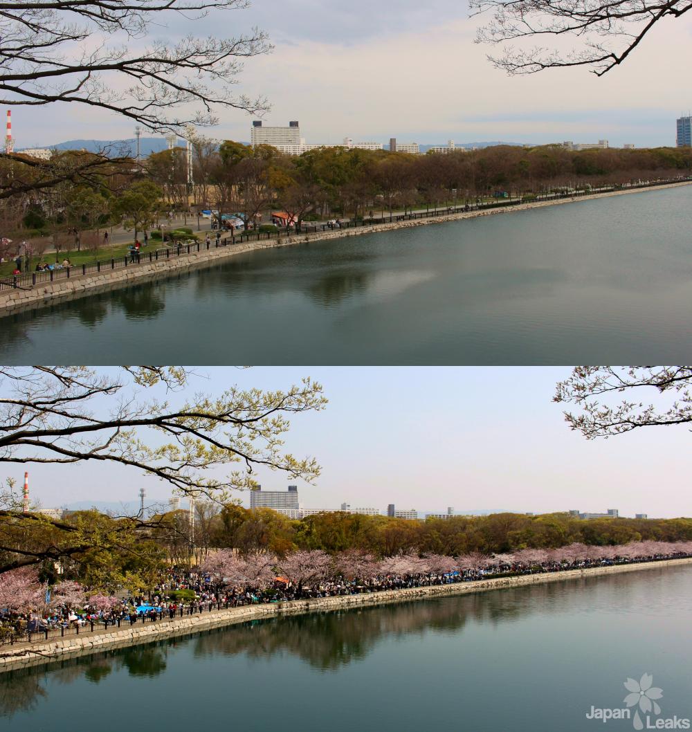 Zwei Fotos eines Flußes an der Burg in Osaka.