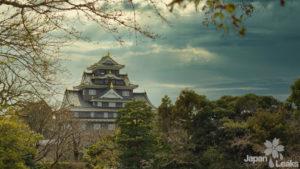 Foto der Burg Okayama vom Park aus