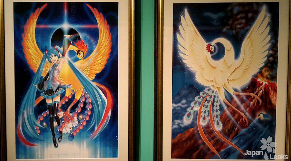 Illustrtion der Sonderausstellung Hatsune Miku und Osamu Tezuka.