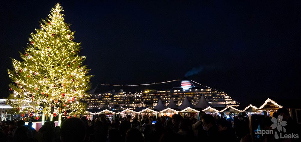 Foto des Hafens vom Weihnachtsmarkt Yokohama aus
