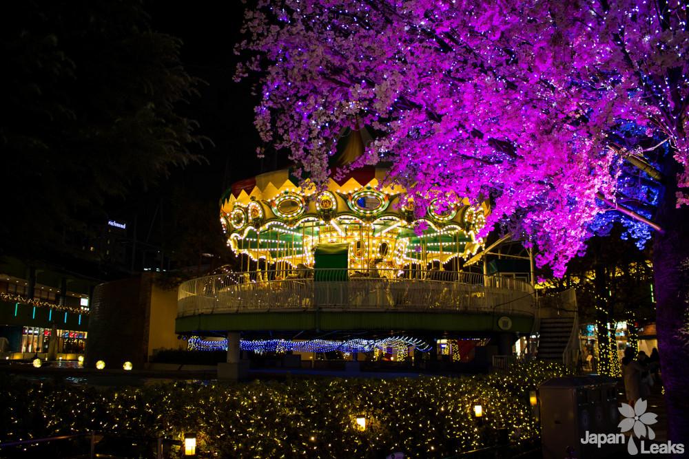 Karusell und Sakura Illumination am Tokyo Dome