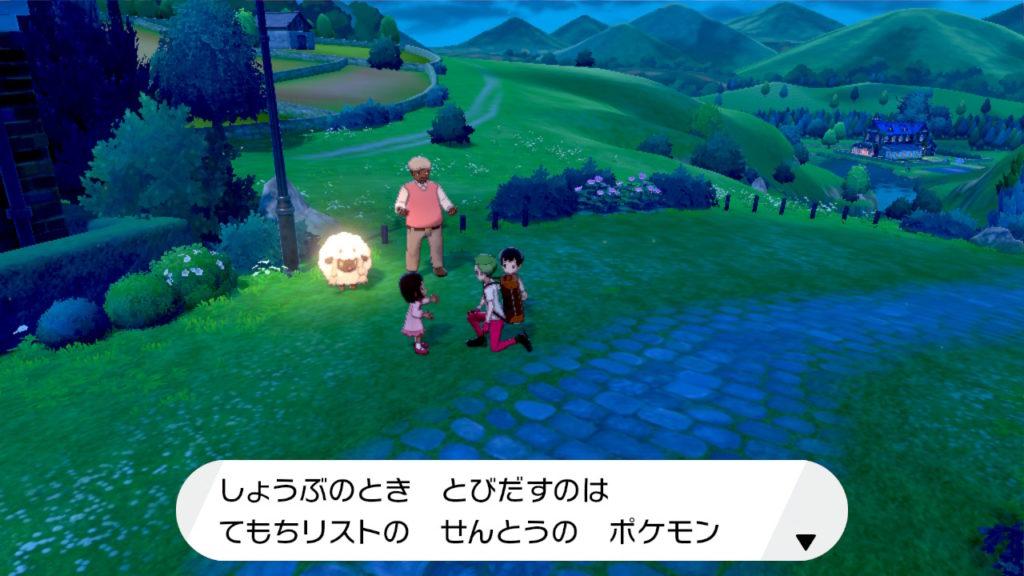 Screenshot eines Pokemonspiels für Switch mit japanischer Schrift.