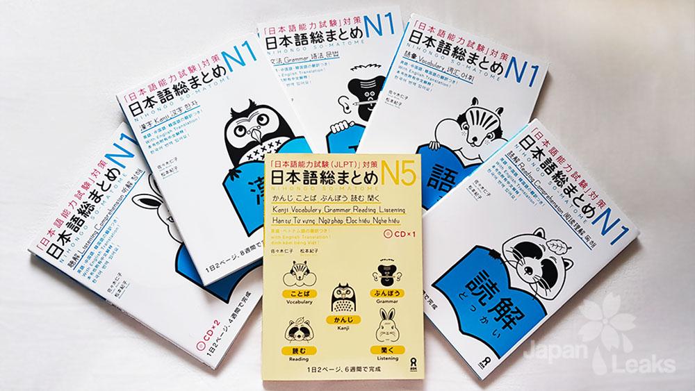 Foto einiger Bücher der Nihongo So-Matome Buchreihe