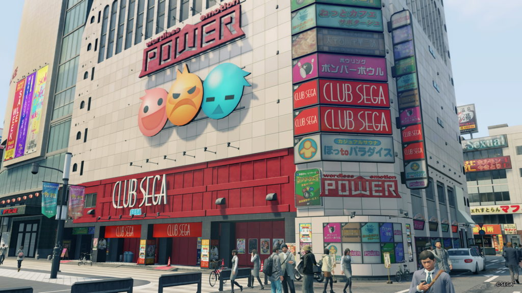 Screenshot aus Yakuza: Like a Dragon, welcher ein Sega Gamecenter in Tokyo zeigt