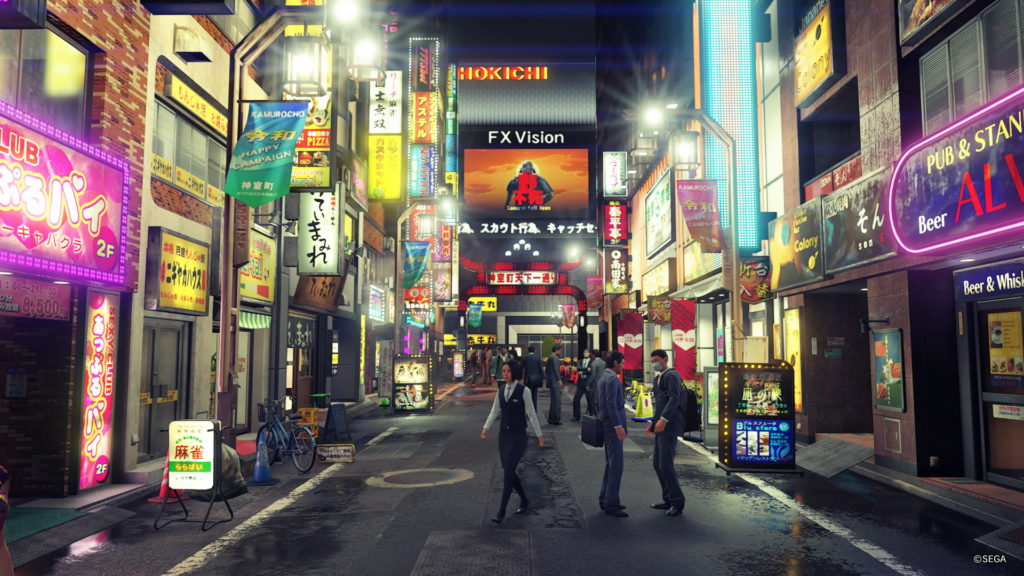 Screenshot aus Yakuza: Like a Dragon im Kamurocho Gebiet.