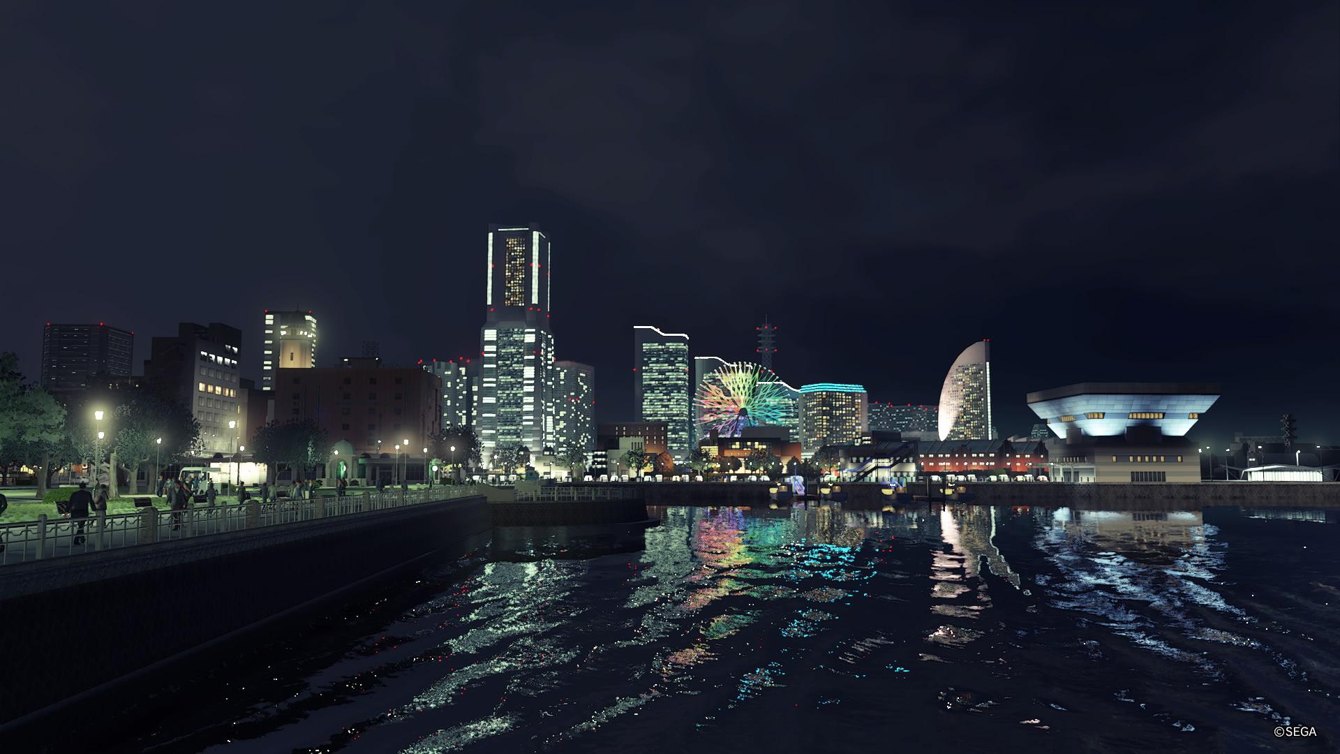 Screenshot aus Yakuza: Like a Dragon mit Blick auf den Hafen Yokohamas.